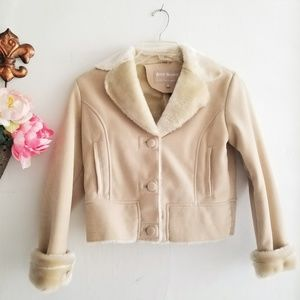 Cropped Tan Faux Fur Lined & Trimmed Jacket